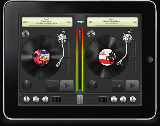 iPad Mixr Price: not yet released Not yet released, this music-mixing app has stirred interest nonetheless. The app will let DJs and music enthusiasts mix tracks by simulating the experience of working with vinyl. Spin the 'record' on screen, and the music responds accordingly. According to the Mixr blog, the app is coming in June 2010.