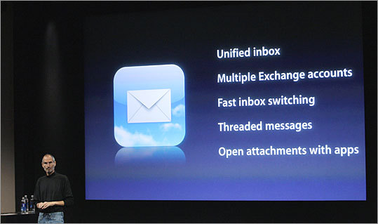 Upgraded e-mail features A beefed-up e-mail app will let users see messages from multiple accounts in a unified inbox, switch between inboxes faster, organize messages by threads, and open attachments in third-party apps.