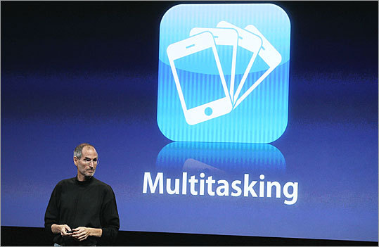 Multitasking Customers have long clamored for the ability to run multiple applications at once on the iPhone. The new operating system will let them do so by keeping certain functions of an app running even when it's not open. This means users can keep Pandora open and playing music in the background while they work on another app, or let Flickr finish an upload without having to stay in the app. Multitasking will only work on iPhone 3GS models, third-generation iPod touch models, and the iPad. It will not work on earlier versions of the iPhone or iPod Touch.