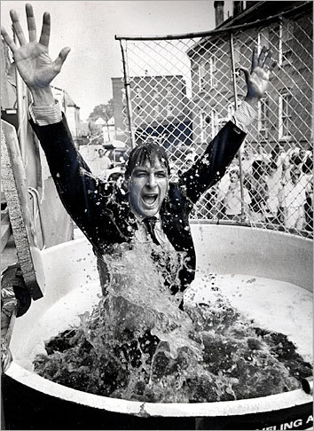 In this photo taken in 1985, Jim Koch emerges from a dunk tank full of expired Boston Lager. Twenty-five years later, Boston Beer is the largest independently owned US beer maker, and one of the world's most successful craft brewers.