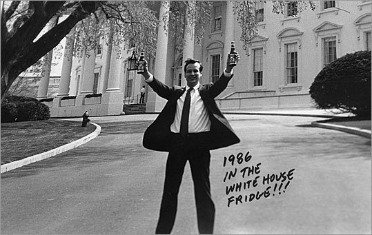 This photo shows Koch celebrating in front of the White House in 1986. Later, President Clinton requested Boston Lager to be served at the Presidential Inauguration in 1993.