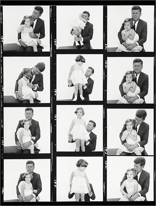 "A bright shining moment in the Kennedys' relationship with the camera occurred on Jan. 3, 1961. Richard Avedon, the most glamorous photographer in the world, arrived in Palm Beach, Fla., on assignment for Harper's Bazaar to photograph the most glamorous family in the world: Jack and Jackie and Caroline and John Jr. It was the marriage made in media heaven - not that anyone was using that word yet. Those few hours the president-elect and his family spent with Avedon in Palm Beach are exactingly chronicled in ""The Kennedys / Portrait of a Family: Photographs by Richard Avedon.'' The show, which originated at the National Museum of American History in Washington, runs at the Peabody Essex Museum through July 18. It is equally essential viewing for Kennedy buffs (it's like watching a costume fitting for ""Camelot'') and would-be art directors. — Photography review: Creating Camelot (Mark Feeney, Globe Staff)"