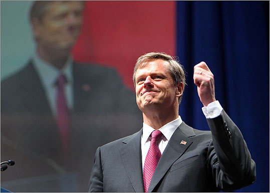 Baker called for 'affordable, accountable, responsive' government and said, 'Let's make Massachusetts work again,' just before a blizzard of red, white, and blue balloons and confetti fell onto the stage at the DCU Center.