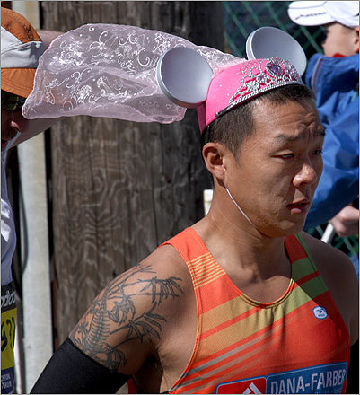 This runner donned mouse ears and a veil. It's definitely a distinctive look.