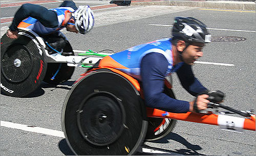 Wheelchair competitors zipped into Kenmore Square.