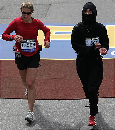 A ninja crossed the finish line. (The ninja is the one on the right, FYI.)