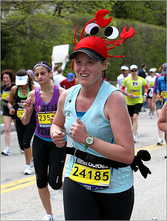 Amy Wolanski wore a lobster hat as she made her way up Heartbreak Hill.