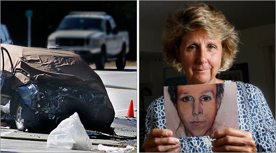 The blue Toyota Highlander driven by Stephen Lagakos (left) sits in the southbound lane of Route 202 where it stopped after colliding with the Chevrolet driven by Stephen Krause. At right, Colleen Krause poses with a painting of her late husband.