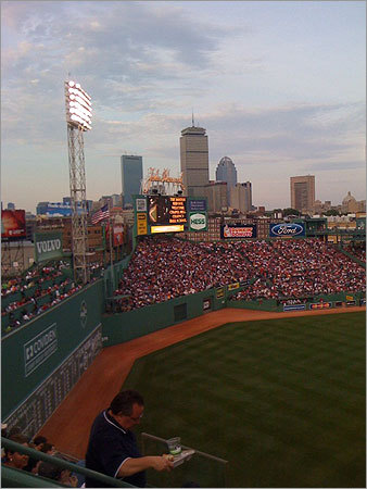 Susannah Jackson also shared this photo of Fenway Park and the Boston skyline that she took from seats above left field.