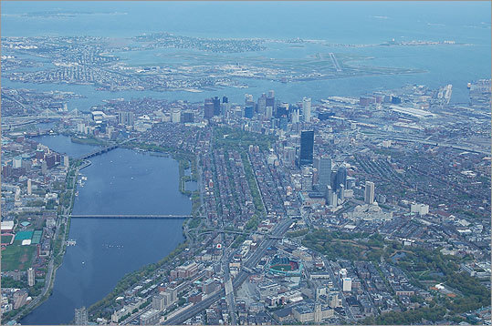Captain John Harvie of Linear Air in Concord took this aerial photo from a plane 3,500 feet over Boston in July 2008.