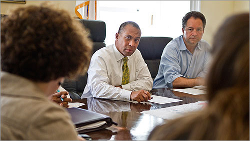 Governor Deval Patrick received a briefing on the water crisis affecting the state in his office.