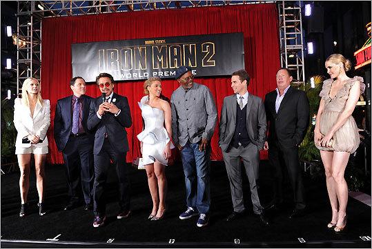Gwyneth Paltrow, Jon Favreau, Robert Downey Jr., Scarlett Johansson, Samuel L. Jackson, Sam Rockwell, Garry Shandling, and Leslie Bibb