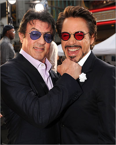 Sylvester Stallone and Robert Downey Jr.
