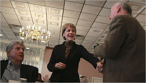 Coakley, now running for reelection as the Massachusetts attorney general, worked the crowd at Anthony's at a breakfast for scholarship winners.