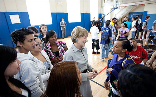 Coakley greeted students after announcing with Boston Mayor Tom Menino, additional funding for summer youth jobs through Project YES (Youth Employment Solutions) at the St. Peter's Teen Center in Dorchester.