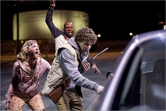 15. Zombieland (2009) This film really translates the unabashed glee that comes from battling hordes of zombies in a video game. Taking its cues from games like Dead Rising and books like Max Brooks' Zombie Survival Guide , Zombieland is all about finding new and ridiculous ways to take down the living dead. Woody Harrelson plays the video-game-character-like role, while Jesse Eisenberg does his best Michael Cera impersonation. Although the actual theme park setting arrives a little late in the movie, it serves as a perfect playground for zombie battles. The movie also has one of the best cameos in recent memory.