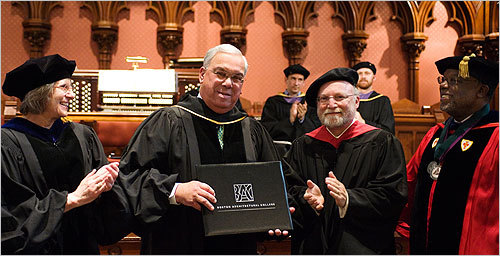 Mayor Menino received a Doctor of Sustainable Communities honorary Degree, with (left to right) BAC Provost Julia Halevy, BAC Board Chair Russ Feldman, President Ted Landsmark.