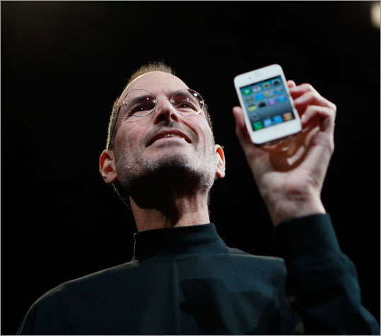 Apple chief executive Steve Jobs unveiled the new version of the company's signature smartphone, the iPhone 4, at the Apple Worldwide Developers Conference in San Francisco on June 7, 2010.