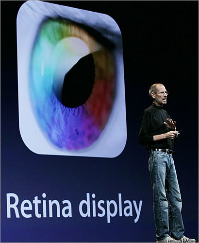 A sharper display The next-generation iPhone uses 'Retina Display' technology to pack four times as many pixels onto the 3.5-inch screen. The new screen is the same size as the previous version, but features a 960x640-pixel display, up from 480x320.