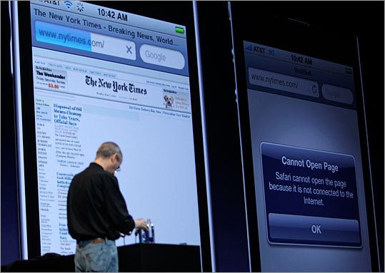 At one point during the iPhone 4 unveiling, Jobs experienced trouble loading up the New York Times website in a side-by-side comparison between the iPhone 4 and the iPhone 3GS. Jobs had to cut the demo short after the website wouldn't load. That prompted one attendee to yell 'Verizon!' The iPhone is only available on the AT&T network.