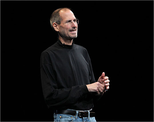 At the start of his keynote address, Jobs took the stage during the Apple Worldwide Developers Conference in San Francisco to shouts of 'We love you, Steve.'