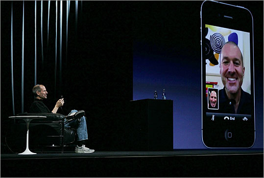 Video calls Jobs showed off a specific use for the iPhone 4's front-facing camera, dubbed 'FaceTime.' The feature allows video calls between iPhone 4's, using either of the device's cameras. Jobs said FaceTime requires no additional setup - it should work just by making a phone call. The catch: It only works over Wi-Fi, for now.