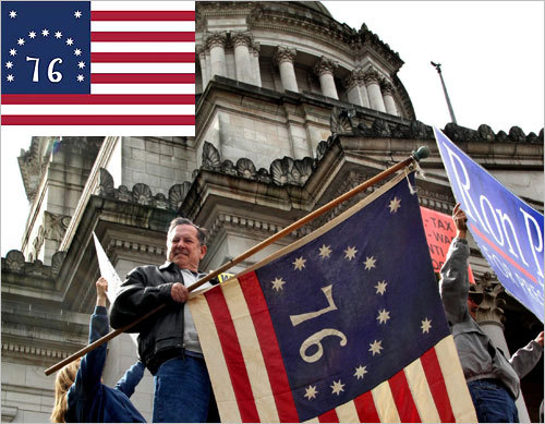 The Bennington flag, with reversed stripes, is named for a Revolutionary battle near Bennington, Vt. Analysis of the original fabric suggests it dates from well after the Revolution. Frank Tower, of Gig Harbor, held the Bennington flag during an anti-tax rally by area Tea Party groups and the Evergreen Freedom Foundation on the Capitol steps in Olympia, Wash.