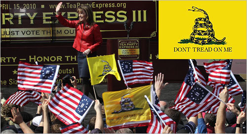 "The now-popular Gadsden Flag (upper right) first flew from ships of the young American Navy; a similar flag in black and white, with a ""Liberty or Death"" message, is the flag of the Culpeper Minute Men. During a Tea Party rally on the Boston Common featuring Sarah Palin, the Gadsden flag was on display in the crowd."