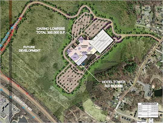 The Crossroads Casino, named for its location at the intersection of Interstates 495 and Interstate 90, offers a glimpse into what the gaming industry has in mind for Massachusetts. Shown here: Overall site plan - Phase 1