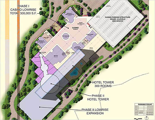 The proposed facility would feature a 275,000 square foot main hall, 100 table games and 24-hour food service. Shown here: Phase 2 site and floorplan