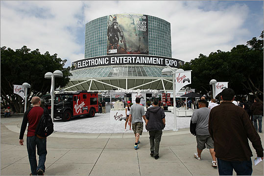 The annual convention for the video game industry, the Electronic Entertainment Expo (also known as E3) - took place in Los Angeles tlast year. Nearly 250 exhibitors and 45,000 attendees were expected at the convention , where publishers big and small try to hype their latest games and gizmos. Because it was in Los Angeles, the event - and the various parties and festivities that surround it - also drew a good amount of star power from the worlds of TV, music, and movies. Here is a look at the gadgets, games, scenes, and celebrities that turned out for the show.