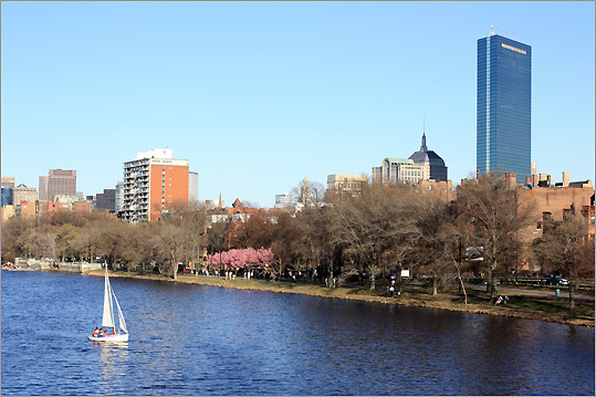 This picture was taken from the Mass. Ave. Bridge in early April by Carlos San Isidro of Jamaica Plain.
