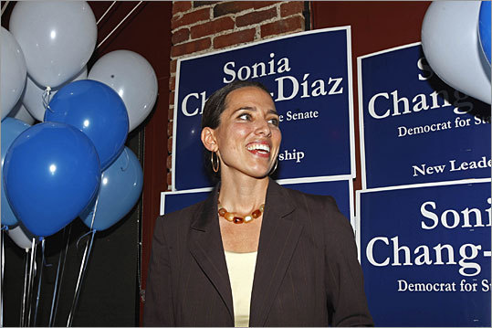 Sonia Chang-Díaz First Latina to serve as state senator A former public school teacher, Chang-Díaz defeated longtime incumbent Diane Wilkerson in 2008 to become the first Latina state senator in Massachusetts. Chang-Díaz is not the only barrier breaker in her family: her father, Franklin Chang-Díaz, is the first Latino astronaut.