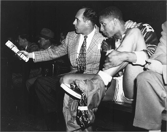 """Chuck Cooper First black player drafted to an NBA team, Boston Celtics The Celtics picked Cooper (shown here at right, with Red Auerbach) in the second round of the 1950 draft, opening the door for two additional black NBA players that season and countless others since. """"I'm convinced that no NBA team would have made the move on blacks in 1950 if the Celtics hadn't drafted me early,"""" he told Celtics Insider, the team's internal newsletter. Cooper amassed 1,850 points during his four years with the Celtics."""
