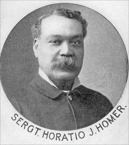 Sgt. Horatio Julius Homer First black Boston police officer A police historian combing through archive files recently discovered the story of Homer, who was the city's first black sergeant. The Farmington, Conn., native served from 1878 to 1919. Homer was so trusted and well-liked within the department that in the decade after he was appointed, and largely because of his recommendations, police leaders hired half-dozen more black officers.