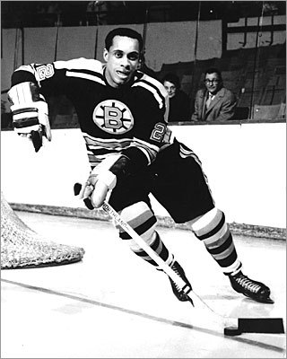 Willie O'Ree First black NHL player, Boston When O'Ree faced the Montreal Canadians on Jan. 18, 1958, he was not only the first and sole black player in the league, but legally blind in his right eye after a Junior League injury left his retina shattered. The New Brunswick native played 45 games with the Bruins, earning four goals and 10 assists. He was in the league until 1961. Today, he encourages children of color to hit the ice as director of youth hockey development for NHL Diversity.