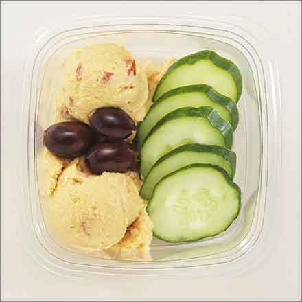 Au Bon Pain Portions (Apples, Blue Cheese, and Cranberries; Brie, Fruit, and Crackers; Cheddar, Fruit, and Crackers; Herb Cheese, Fruit, and Crackers; Hummus and Cucumber; Mozzarella and Tomato; Turkey, Asparagus, Cranberry Chutney, and Gorgonzola) Calories: 130-200 Calories from fat: 8-14 Sodium (mg): 240-550 Sugars (g): 1-2 Right: Hummus and Cucumbers