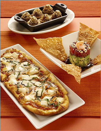 Cheesecake Factory Small Plates and Snacks Nutritional information is not available Right: Stuffed Mushrooms, Ahi Tartare, and Fresh Baked Margherita Pizzette