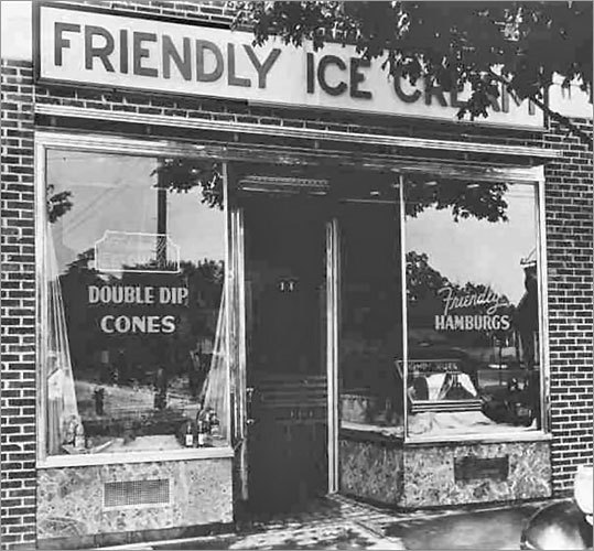 1935: First location of Friendly Ice Cream opens Brothers Prestley Blake, 20, and Curtis Blake, 18, open Friendly Ice Cream in Springfield. The two sold double-dipped ice cream cones for 5 cents apiece.
