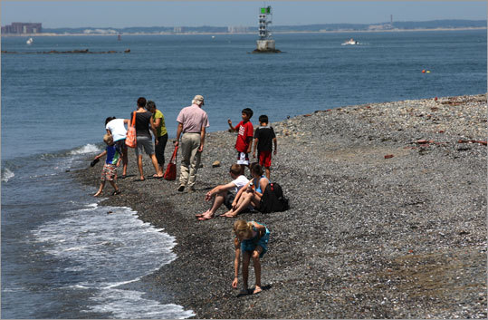 Spectacle Island visitors comb the beach.