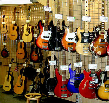 Used musical instruments Rockin Bob's Guitars Location: 31 Holland St., Somerville Hours: Mon.-Wed., 11 a.m. to 6 p.m.; Thurs., 11 a.m. to 6 p.m.; Fri. 11 a.m. to 7 p.m.; Sat. 11 a.m. to 5 p.m.; Closed on Sundays Phone Number: (617) 625-7707 Rockin Bob's, which was formerly known as Used Sound, is in the heart of Davis Square and sells, repairs, and restores new and used guitars, amplifiers, stereo gear, and accessories.