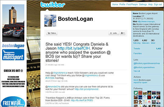 2. Logan International Airport Twitter handle: bostonlogan Followers: 4,002 Recent tweet: @AmandaCha did you know you can use our free cell phone lot to wait for your friends' arrival? http://bit.ly/cellphonelot