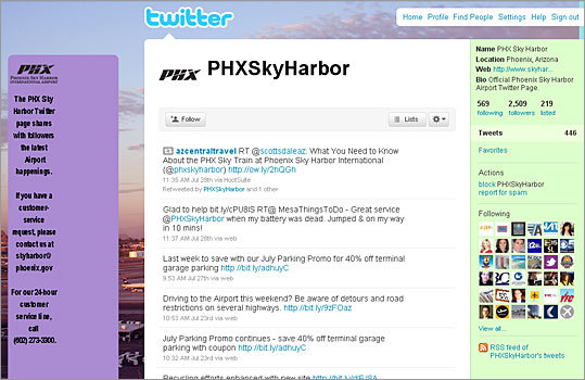 4. Phoenix Sky Harbor International Airport Twitter handle: PHXSkyHarbor Followers: 2,509 Recent tweet: Travelers - take advantage of our July Parking Promo for 40% off terminal garage parking with coupon http://bit.ly/julyparkpromo1