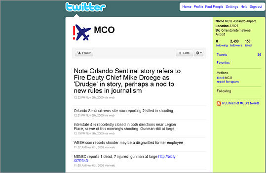 5. Orlando International Airport Twitter handle: MCO Followers: 2,498 The Orlando International Airport's Twitter account has not had a new tweet since Nov. 9, 2009.