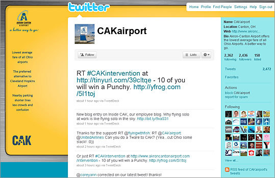 6. Akron-Canton Airport Twitter handle: CAKairport Followers: 2,436 Recent tweet: Who wants a Punchy? Tweet the link to Intervention http://tinyurl.com/39cltqe & hashtag #CAKintervention. We'll randomly choose 10 winners!