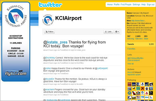 9. Kansas City International Airport Twitter handle: KCIAirport Followers: 2,009 Recent tweet: @NicoleEri Thanks for the mention. So jealous. NOLA is always a good time. Have fun! Bon voyage!