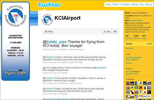 9. Kansas City International Airport Twitter handle: KCIAirport Followers: 2,009 Recent tweet: @NicoleEri Thanks for the mention. So jealous. NOLA is always a good time. Have fun! Bon voyage!
