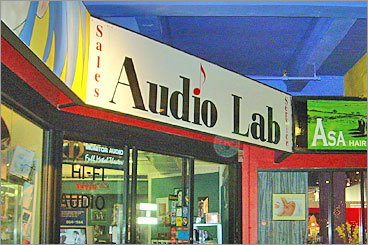 Used electronics The Audio Lab Location: 36 JFK St. (Inside The Garage), Cambridge Hours: Mon. - Fri. 10:30 a.m. to 8 p.m.; Sat. 11 a.m. to 6 p.m.; Sunday noon to 6 p.m. Phone number: 617-864-1144 The Audio Lab, which specializes in repairing audio equipment such as turntables, also sells a variety of new and used audio equipment, including turntables, amplifiers, CD players, equalizers, and more.