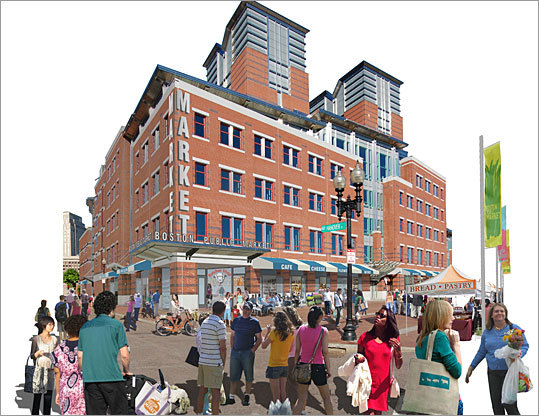 A public food market is proposed for a state-owned building along the Rose Fitzgerald Kennedy Greenway.