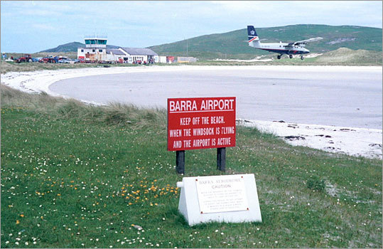 1. Barra Airport Location: Barra, Scotland Why it's scary: If you're landing on this Scottish island, which is frequented by tourists, you better hope it's at low tide. That's because the airport's beach runways are underwater at high tide.